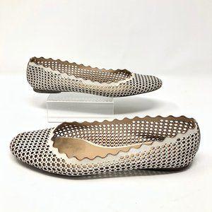Chloe Lauren Perforated Scalloped Ballet Flats